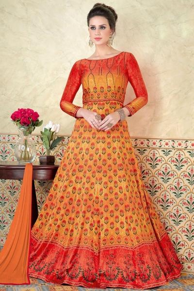 Orange color satin party wear anarkali 5305