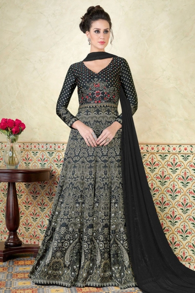Black color satin party wear anarkali kameez 5307