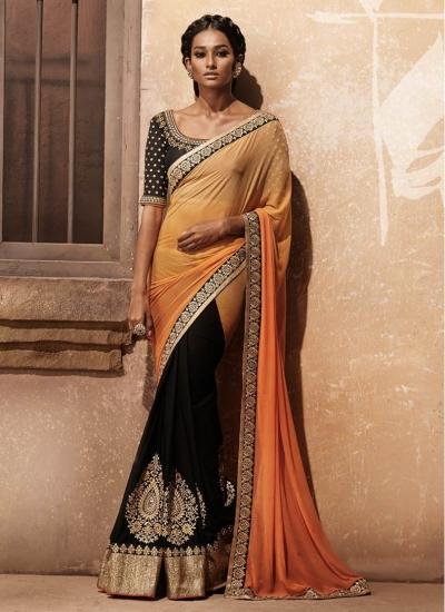 Majestic Black and Orange Shaded Half n Half Designer wedding wear saree