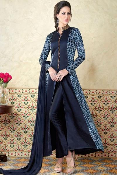 Blue color tussar silk party wear anarkali kameez 5312