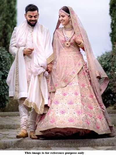 Bollywood Style Anushka sharma Peach tafetta silk wedding lehenga choli