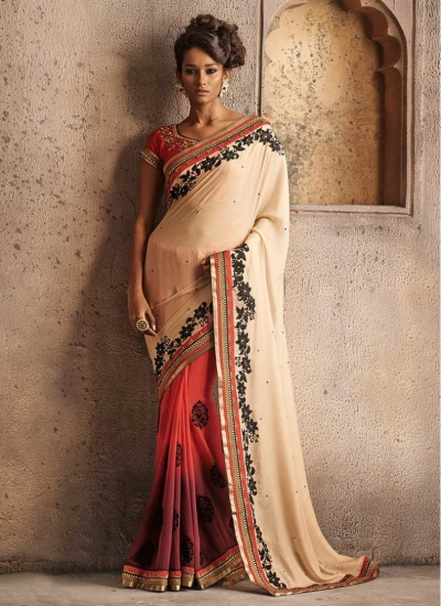 Shaded Pink with Red and Cream Half and Half Designer wedding wear saree