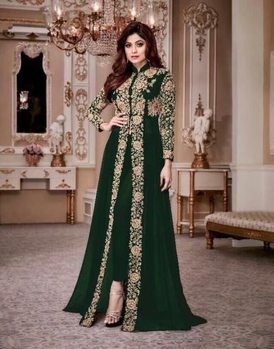 Shamita Shetty Green color party wear anarkali kameez