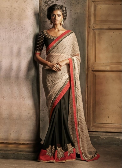 Impressive Black and Cream Half and Half Designer wedding wear saree