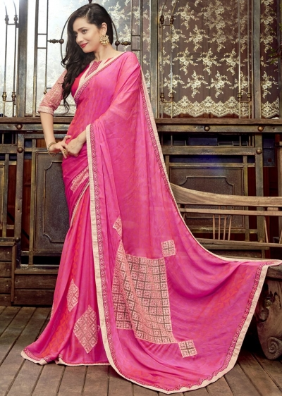 Pink Faux Georgette Embroidered Festive Saree 97070