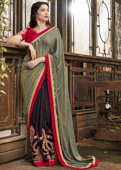 Brown Faux Georgette Embroidered Festive Saree 97071