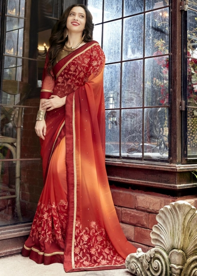 Maroon Faux Georgette Embroidered Festive Saree 97072
