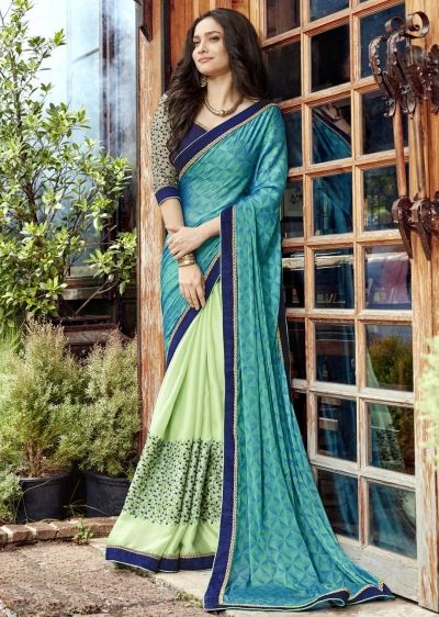 Green Faux Georgette Embroidered Festive Saree 97073