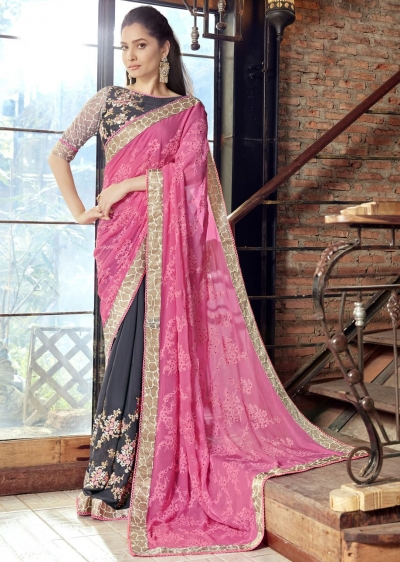 Grey Faux Georgette Embroidered Festive Saree 97075