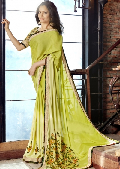 Green Faux Georgette Embroidered Festive Saree 97076