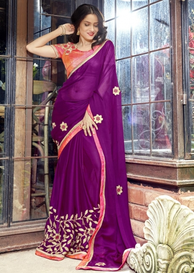 Purple Faux Georgette Embroidered Festive Saree 97078
