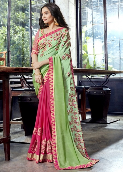 Pink Faux Georgette Embroidered Festive Saree 97080