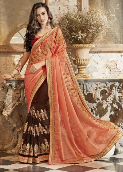 Brown Georgette Chiffon Embroidered Festive Saree 88002