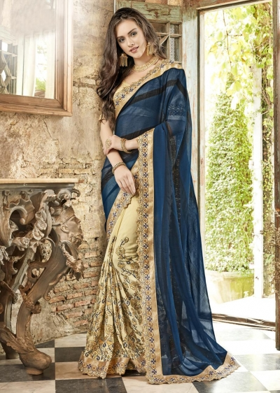 Beige Georgette Chiffon Embroidered Festive Saree 88005