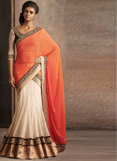 Sturning Orange and Off White Lehenga Style Sarees
