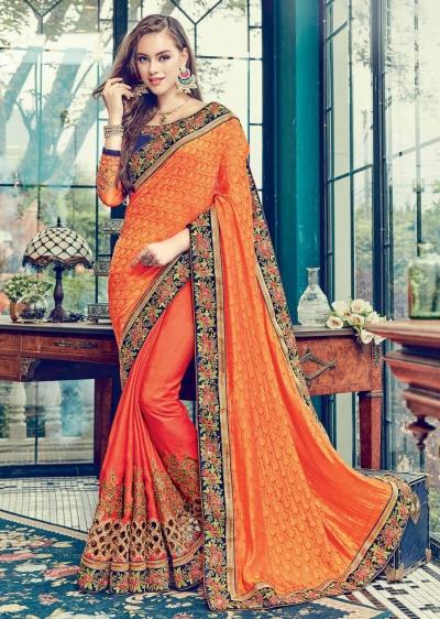 Orange  Satin Jacquard Art Silk Embroidered  Saree 24350