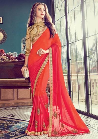 Orange  Satin Art Silk Embroidered  Saree 24354
