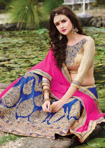 Blue net Embroidered Festive Lehenga choli 10442