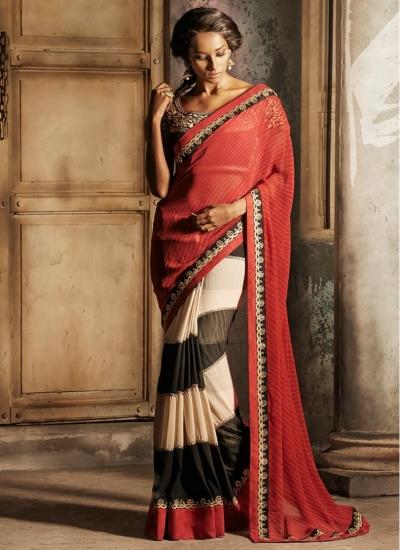 Red, Black & Cream Net Brasso Trendy Designer wedding wear saree
