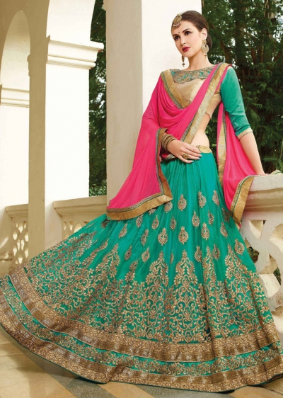 Green net Embroidered Festive Lehenga choli 10450