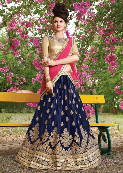 Blue net Embroidered Festive Lehenga choli 10451