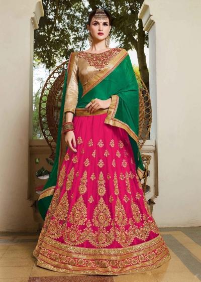 Pink net Embroidered Festive Lehenga choli 10452