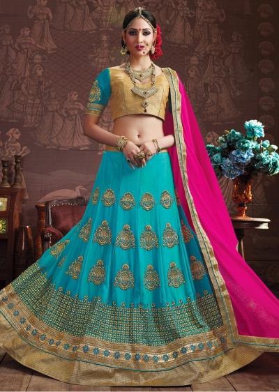 SkyBlue Colored Embroidered Faux Georgette Wedding Lehenga Choli 3154