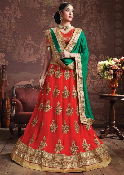 Red Colored Embroidered Faux Georgette Bridal Lehenga Choli 3156