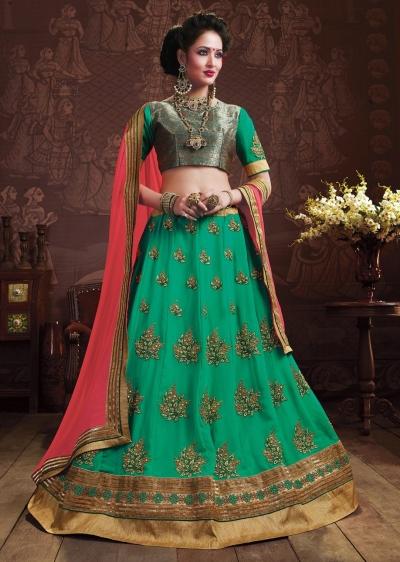 Green Colored Embroidered Faux Georgette Wedding Lehenga Choli 3158