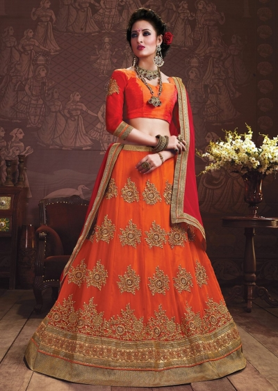 Orange Colored Embroidered Faux Georgette Wedding Lehenga Choli 3162