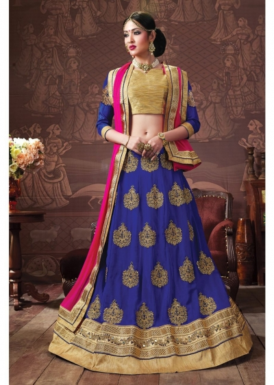 Blue Colored Embroidered Faux Georgette Wedding Lehenga Choli 3163