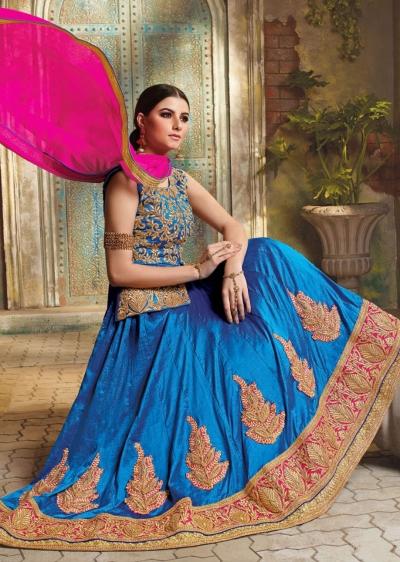 Blue Satin Embroidered Festive Lehenga choli 10461