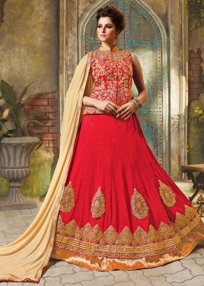 Red Satin Embroidered Festive Lehenga choli 10464