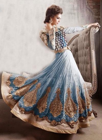 Sea blue heavy designer wedding wear anarkali