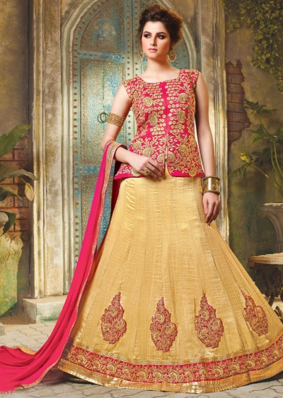 Beige Satin Embroidered Festive Lehenga choli 10467
