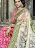 Off white and pink lucknowi net and banaras silk wedding sarees