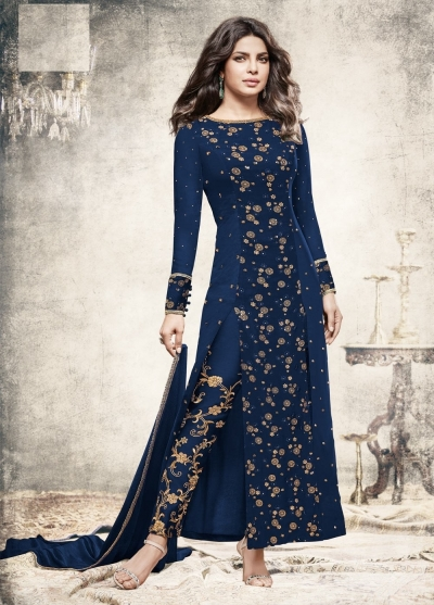 Priyanka chopra Navy blue georgette straight cut salwar kameez