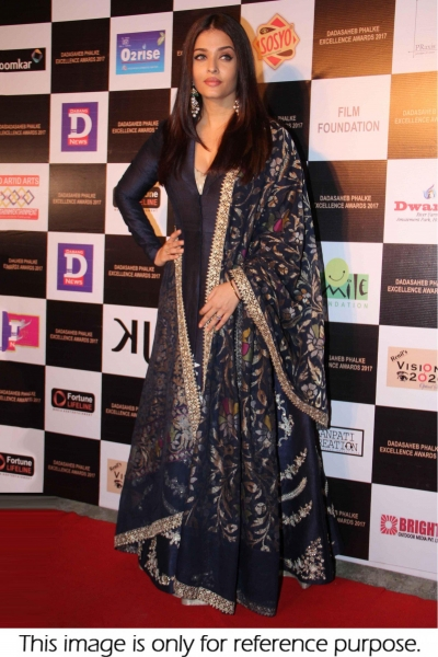 Bollywood Aishwarya Rai silk Navy blue gown