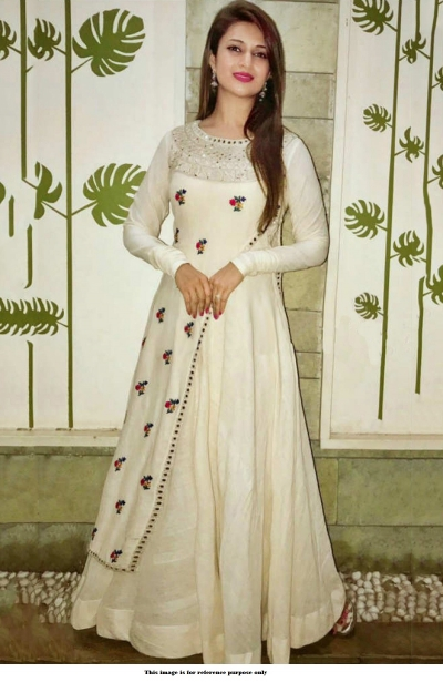 Bollywood Style Divyanka tripathi White taffeta silk gown