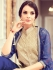 Beige and blue color party wear pant style suit