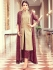 Beige and wine color party wear pant style suit