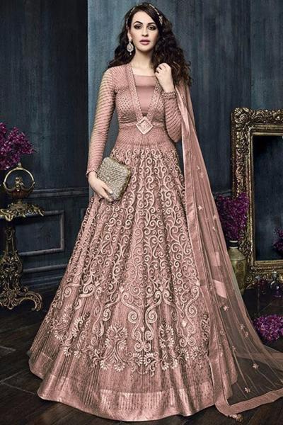 Onion pink color net weddding lehenga and pant style kameez