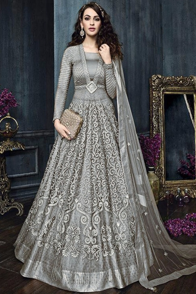 Grey color net weddding lehenga and pant style kameez