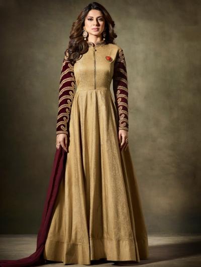 Jennifer Winget Beige gold silk anarkali