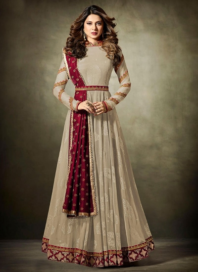 Jennifer Winget Grey and Maroon Lycra jacquard anarkali