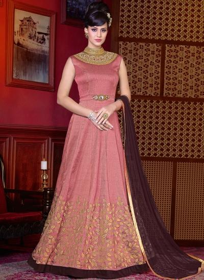 Pink color shaded silk wedding anarkali