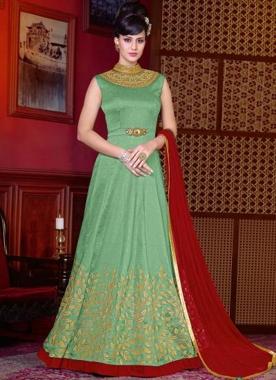Green color shaded silk wedding anarkali