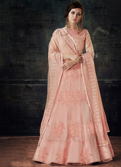 Pink net and jacquard wedding lehenga choli