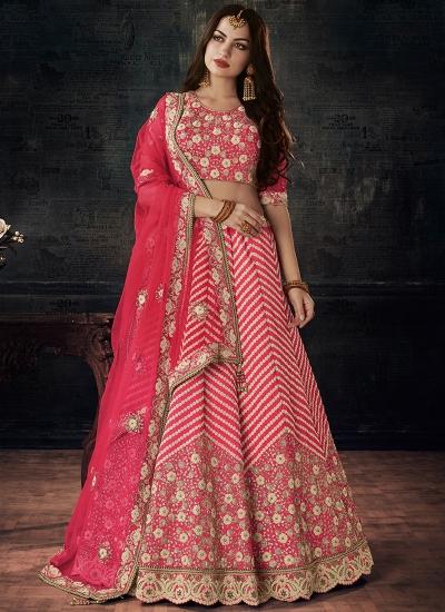 Pink color silk wedding lehenga choli