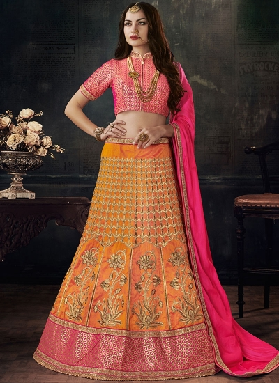 Orange color silk wedding lehenga choli